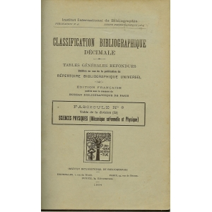 CLASSIFICATION BIBLIOGRAPHIQUE DECIMALE