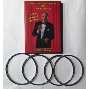 DVD ROUTINE DE 4 MINI-ANNEAUX PAR PIERRE SWITON + SET DE 4 MINI-ANNEAUX