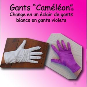 """Gants """"Caméléon"""" - blanc/violet"""