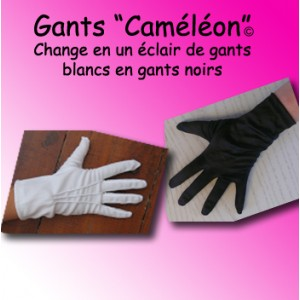 "Gants ""Caméléon"" - blanc/noir"