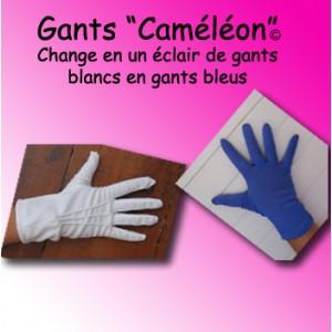 "Gants ""Caméléon"" - blanc/bleu"