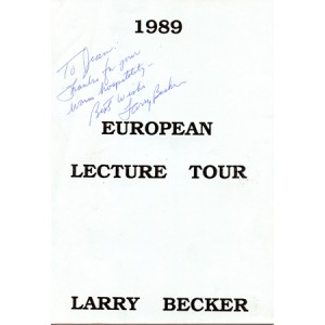 EUROPEAN LECTURE TOUR – 1989 (Larry Becker)