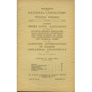 PROCEEDINGS OF THE NATIONAL LABORATORY OF PSYCHICAL RESEARCH – VOLUME I PART II (Harry PRICE)