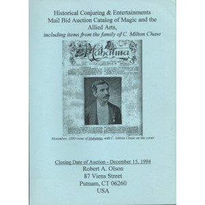 HISTORICAL CONJURING & ENTERTAINMENTS MAIL BID AUCTION CATALOG OF MAGIC AND THE ALLIED ARTS
