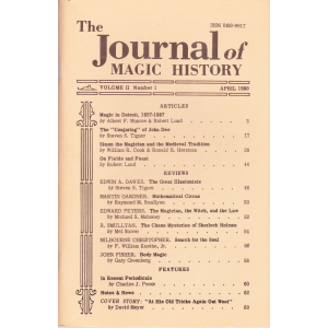 The Journal of MAGIC HISTORY Volume II Number 1, 2, 3