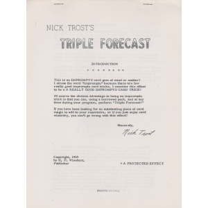 NICK TROST'S TRIPLE FORECAST