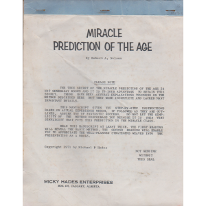 MIRACLE PREDICTION OF THE AGE by Robert A. Nelson