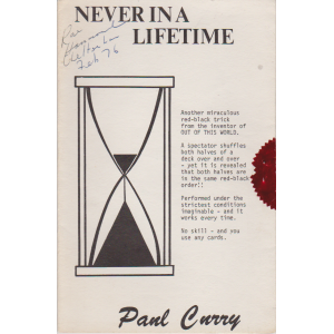 NEVER IN A LIFETIME (Paul Curry)