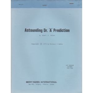 Astounding Dr. 'A' Prediction by Robert A. Nelson