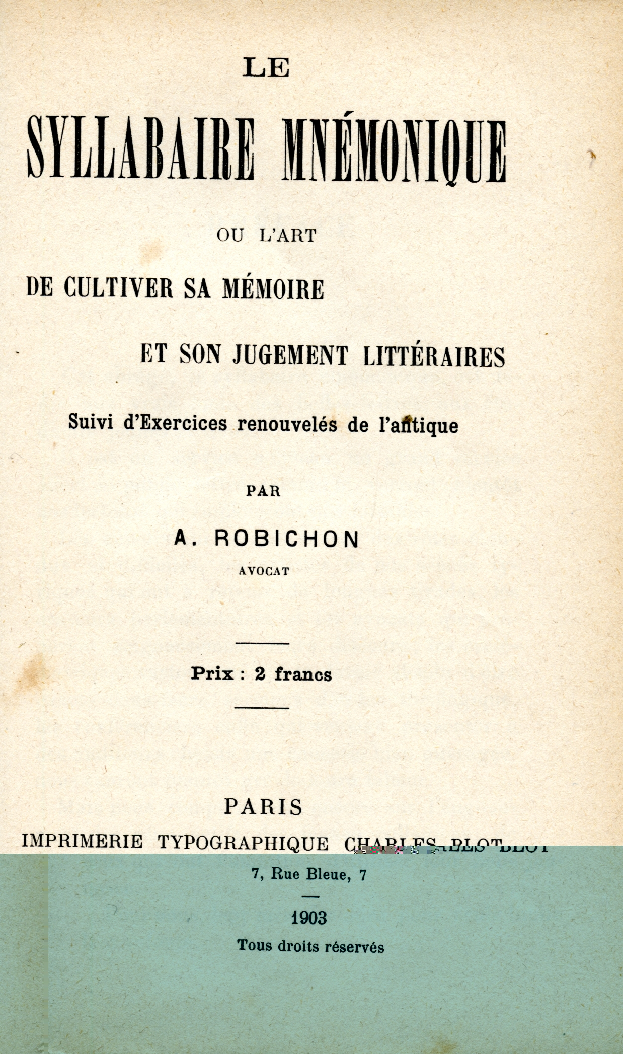 LE SYLLABAIRE MNEMONIQUE